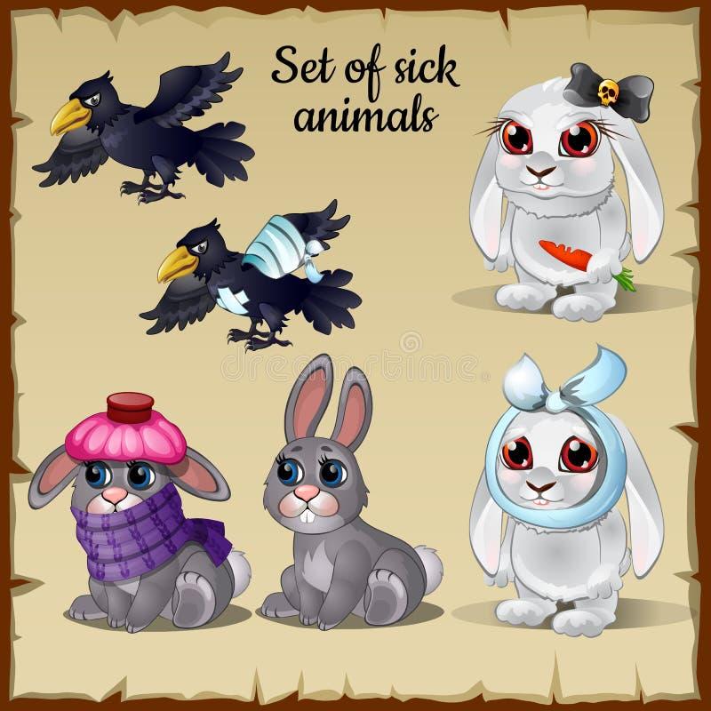 Três animais doentes e saudáveis pobres ilustração stock