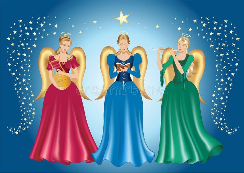 Três anjos ilustração stock