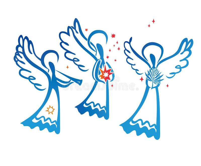 Três anjos pintados ilustração do vetor
