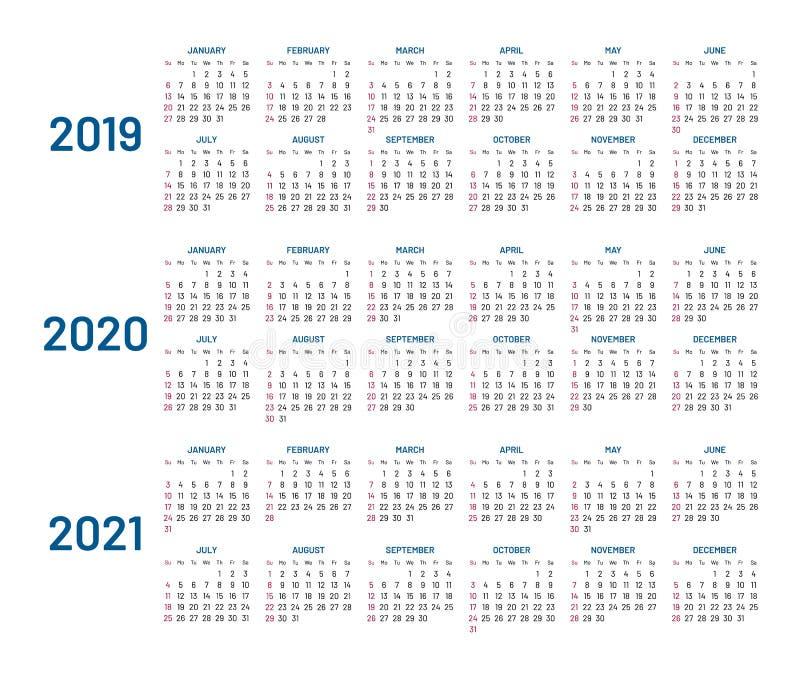 Três anos de calendário, 2019, 2020, 2021, isolado, plano ilustração royalty free
