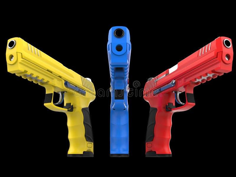 Três armas semi automáticas modernas - vermelhas, azuis e amarelas ilustração royalty free