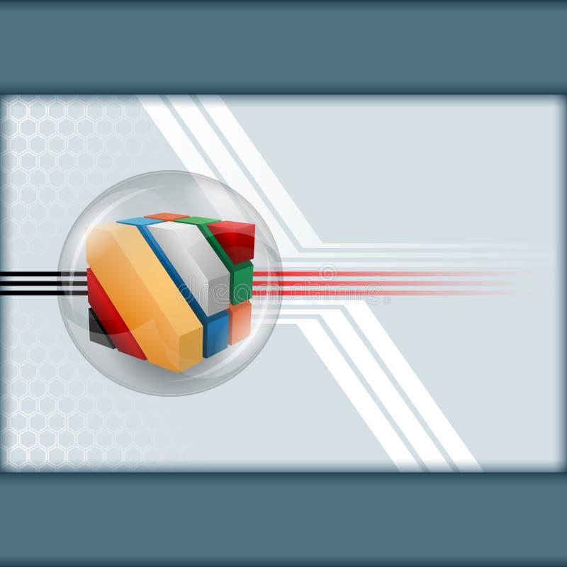 Três artísticos dos cubos das dimensões projetados dentro da esfera de vidro ilustração stock