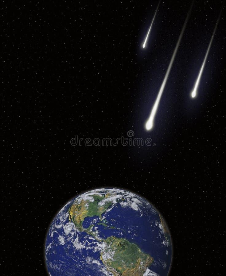 Rumo de colisão dos cometas dos meteoros dos asteróides com orelha ilustração do vetor