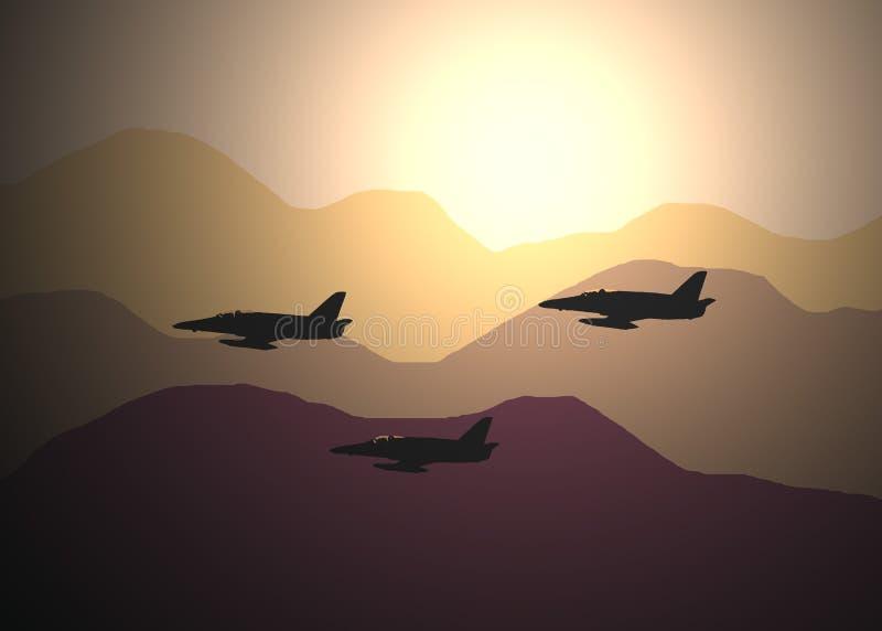 Três aviões de combate ilustração do vetor