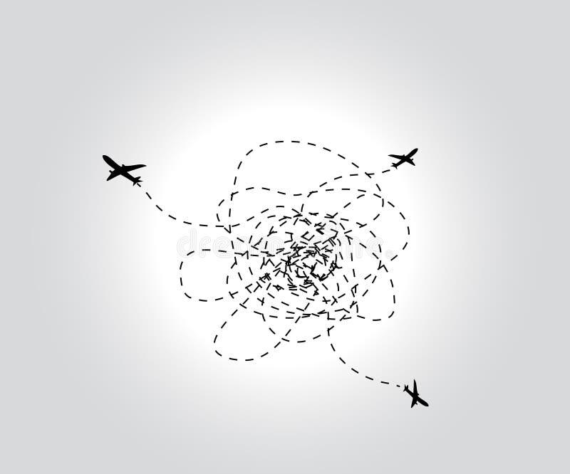 Três aviões de voo. Vetor ilustração stock