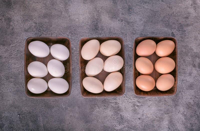 Três bacias com ovos acima imagens de stock