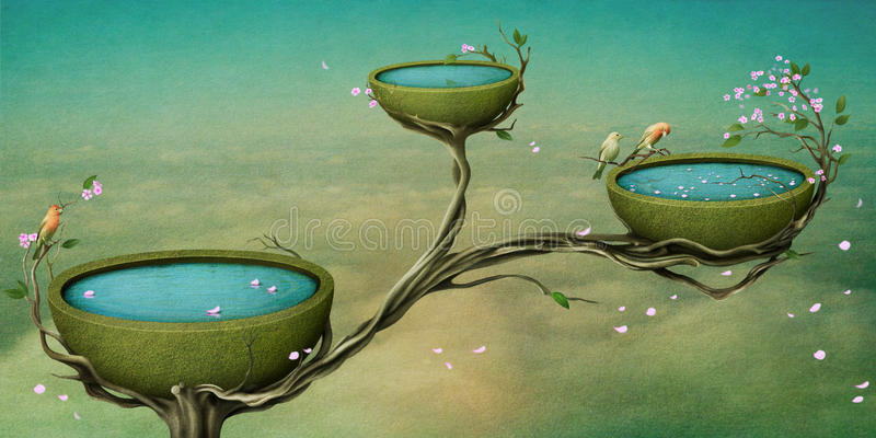 Três bacias de água na árvore. ilustração do vetor