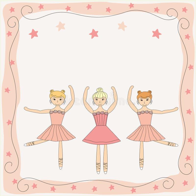 Três bailarinas bonitos de dança ilustração royalty free