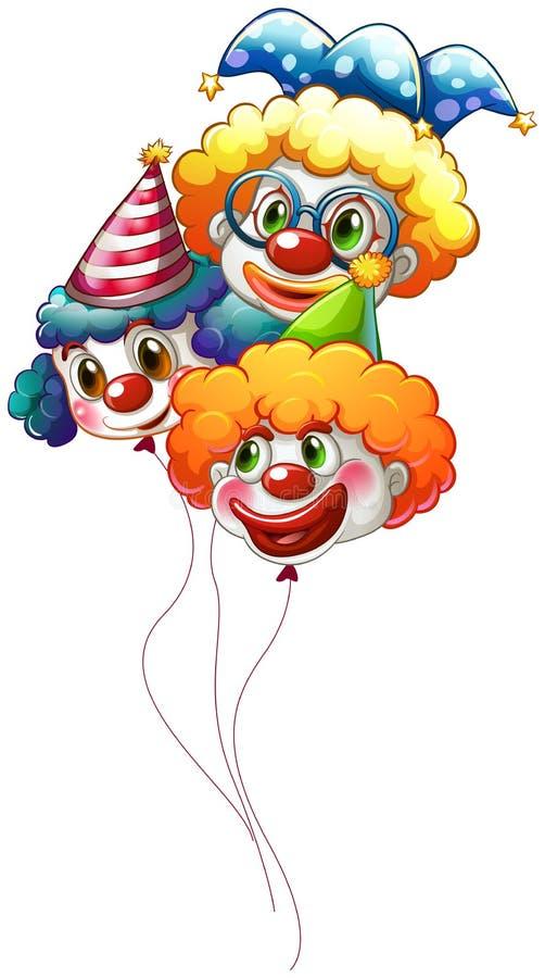 Três balões coloridos do palhaço ilustração stock