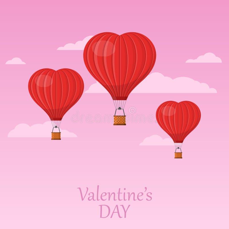 Três balões de ar vermelhos do coração que voam no céu cor-de-rosa com nuvens Cartão do dia do ` s do Valentim de Saint O balão d ilustração royalty free