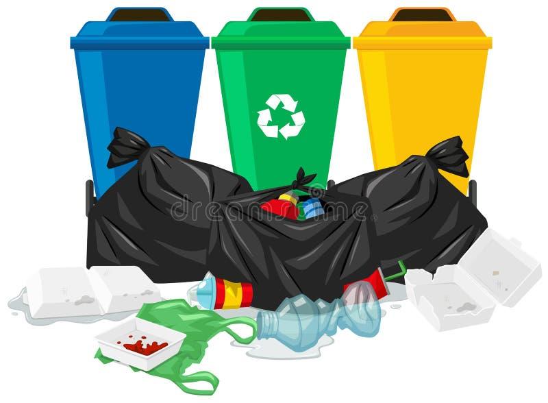 Três baldes do lixo e sacos de lixo ilustração stock