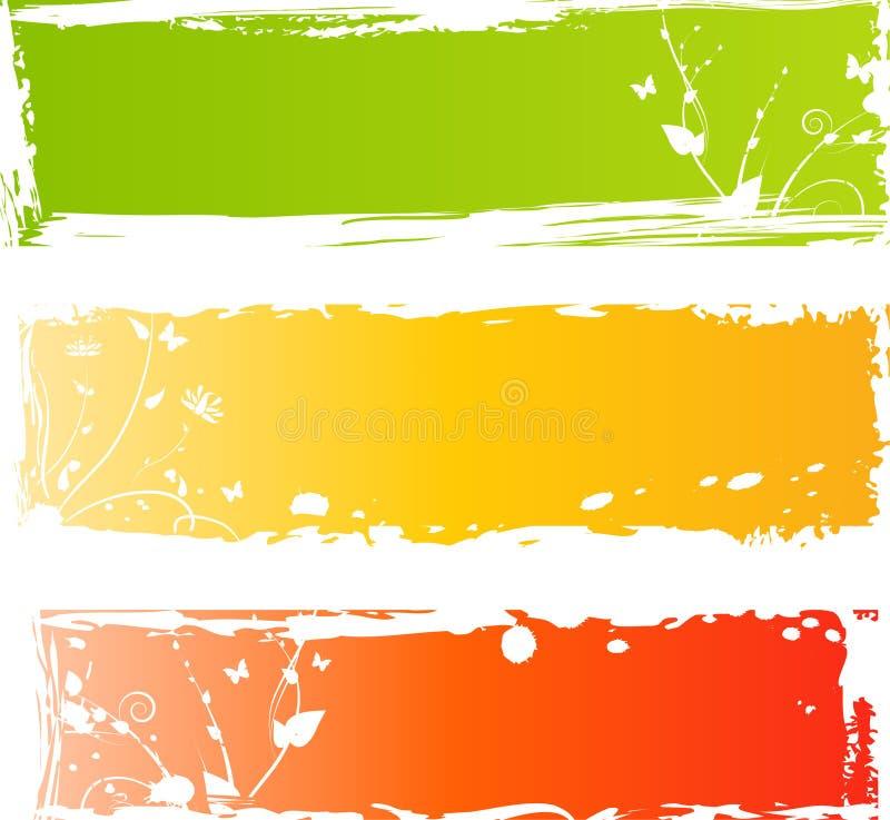 Três bandeiras coloridos sujas com florals ilustração stock