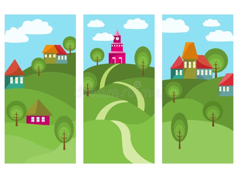 Três bandeiras com a cidade pequena colorida ilustração do vetor