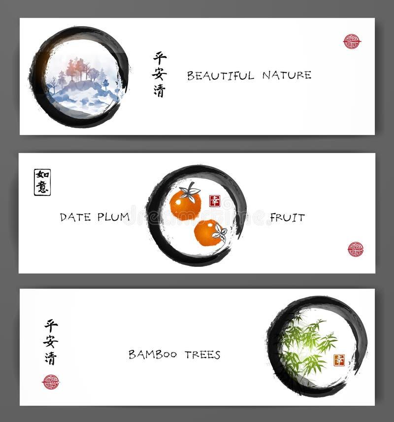 Três bandeiras com montanhas, ameixa de data frutificam e as árvores de bambu Sumi-e oriental tradicional da pintura, u-pecado, i ilustração do vetor