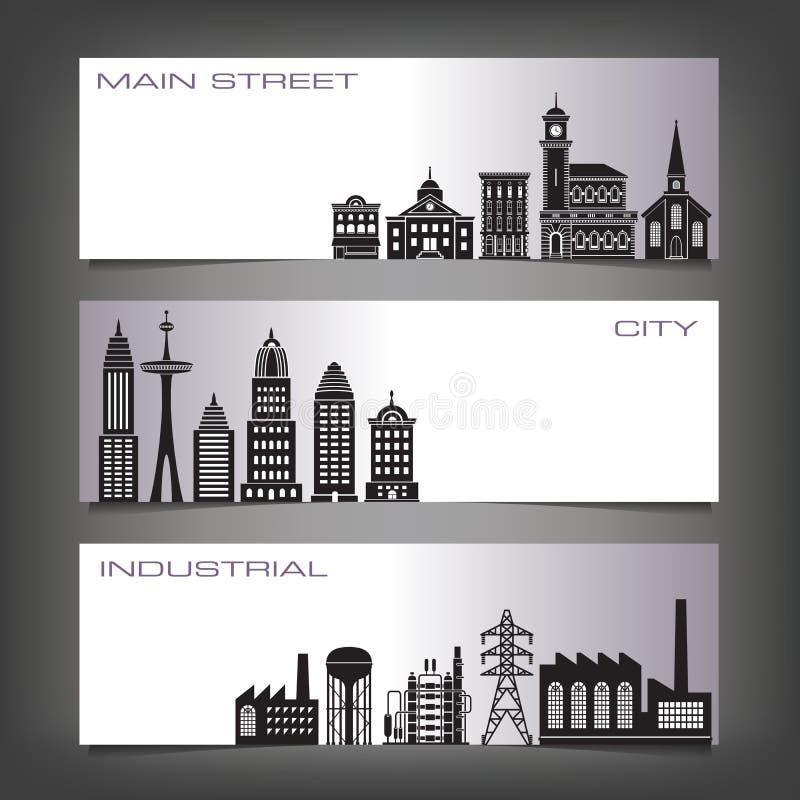 Três bandeiras de construção ilustração stock