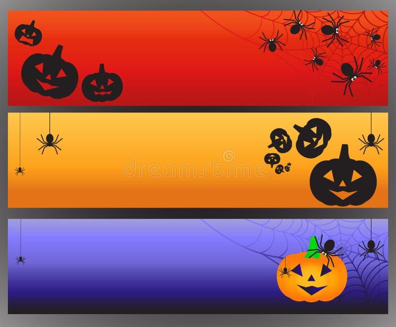Três bandeiras de Dia das Bruxas do vetor com aranha e spiderweb ilustração royalty free
