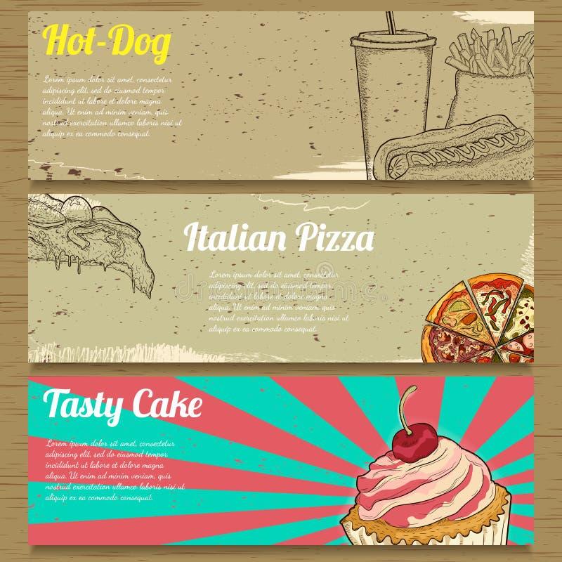 Três bandeiras do alimento para anunciar ilustração do vetor