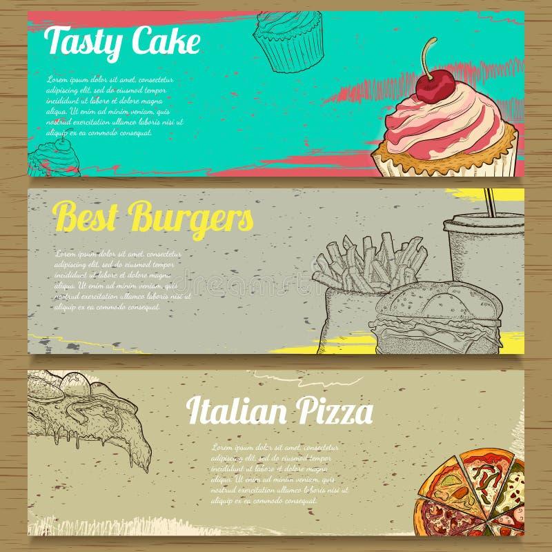 Três bandeiras do alimento para anunciar Vetor ilustração stock
