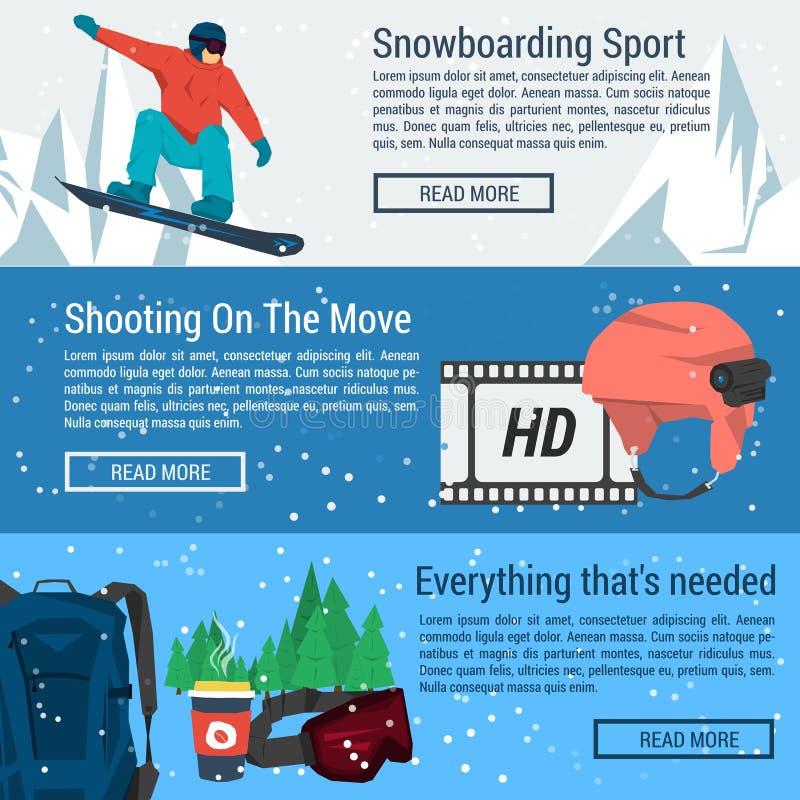 Três bandeiras - esporte da snowboarding ilustração do vetor