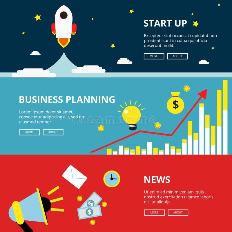 Três bandeiras horizontais da Web da otimização do negócio e da tecnologia Ilustrações da propaganda ajustadas no estilo liso ilustração royalty free