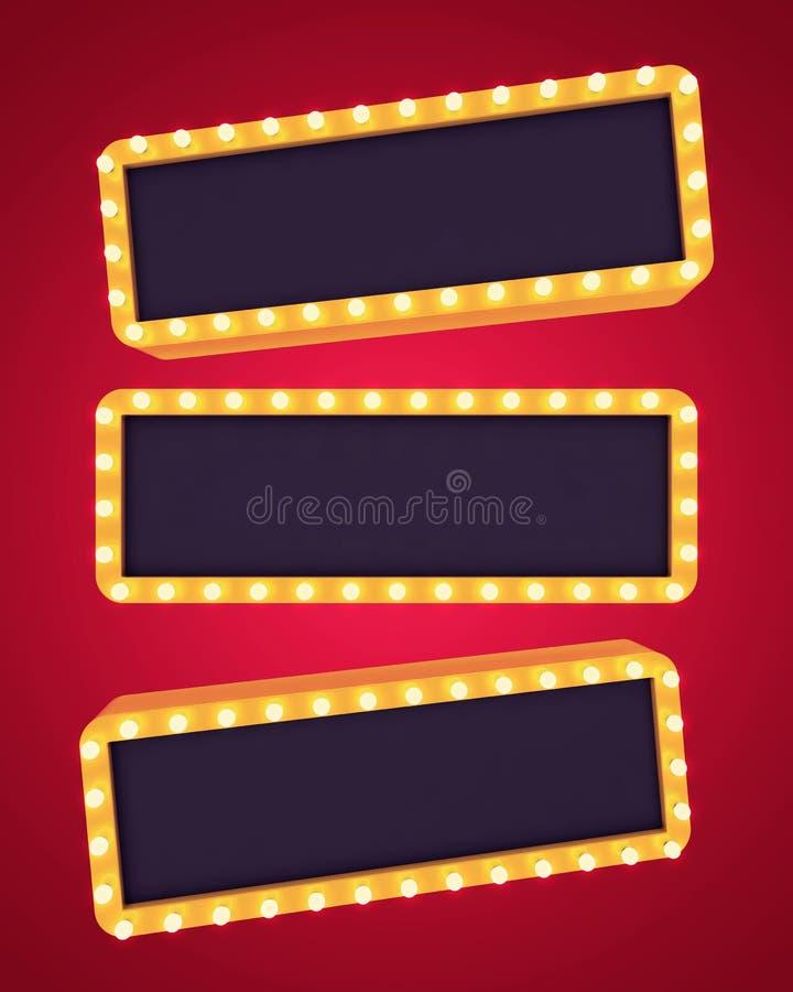 Três bandeiras retros douradas no fundo vazio ilustração royalty free