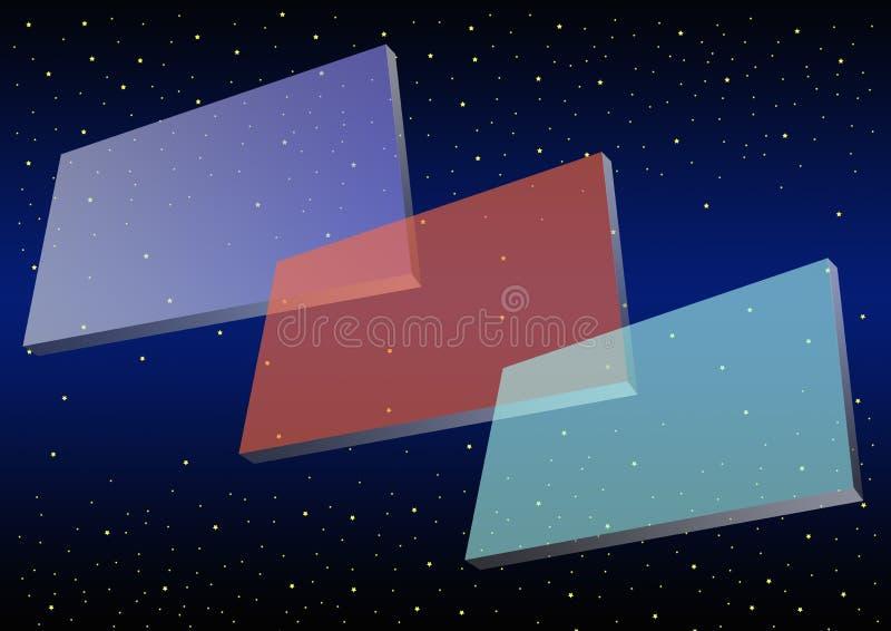 Três bandeiras transparentes ilustração do vetor