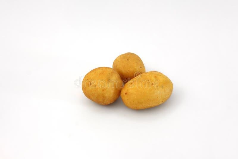 Três batatas isoladas imagens de stock royalty free