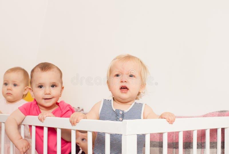 Três bebês na ucha foto de stock royalty free