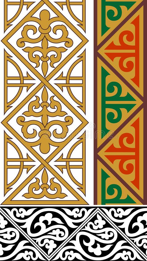 Três beiras decorativas ilustração stock