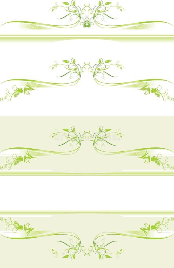 Três beiras verdes decorativas ilustração do vetor