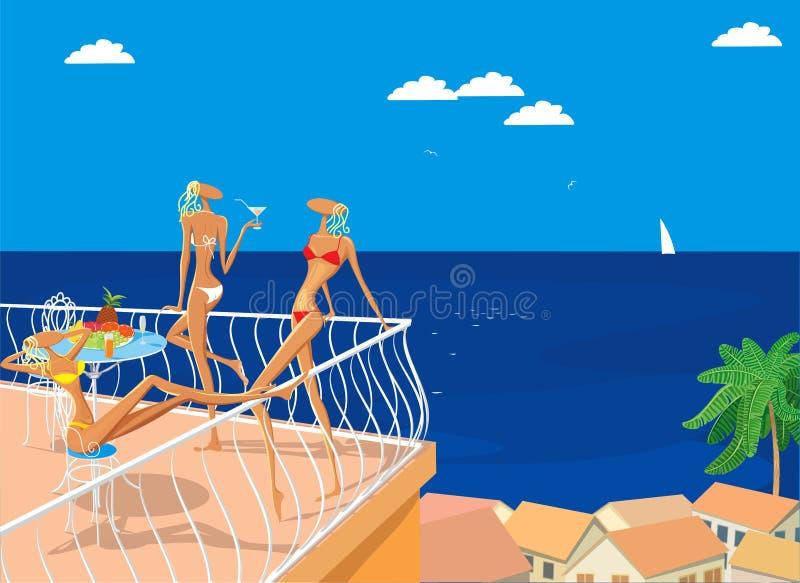 Três benevolências no mar ilustração royalty free