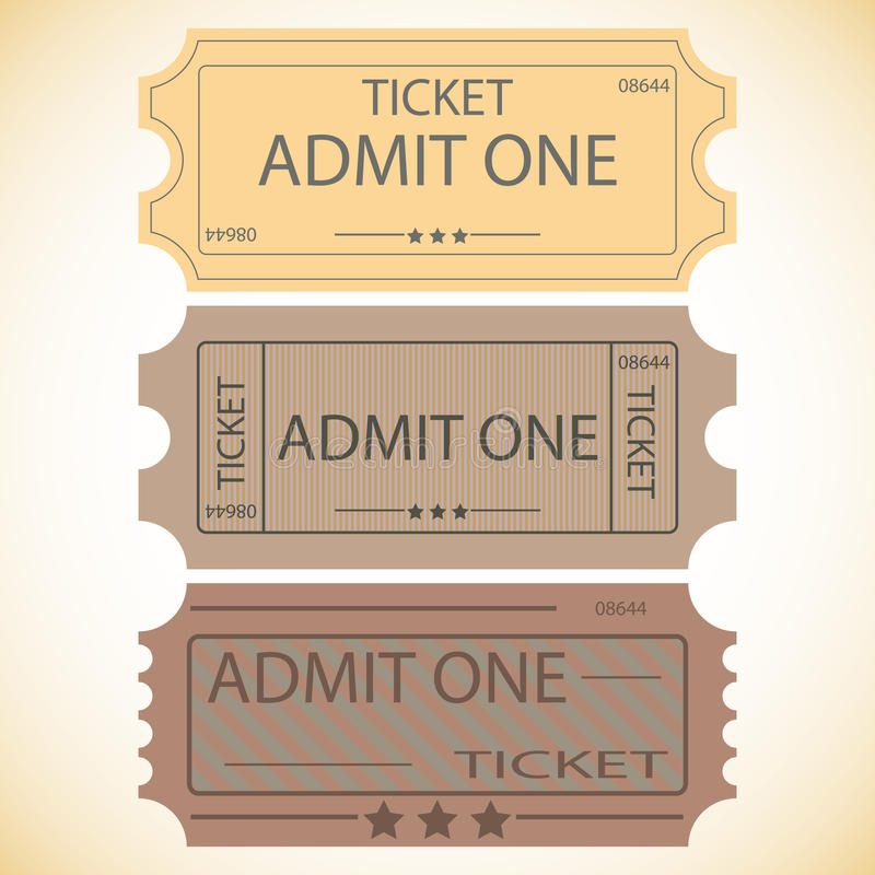 Três bilhetes. ilustração do vetor