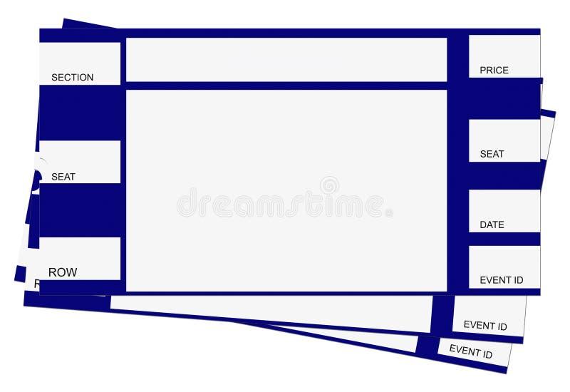 Três bilhetes azuis com trajeto de grampeamento ilustração do vetor