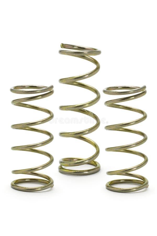 Três bobinas da mola do metal imagens de stock