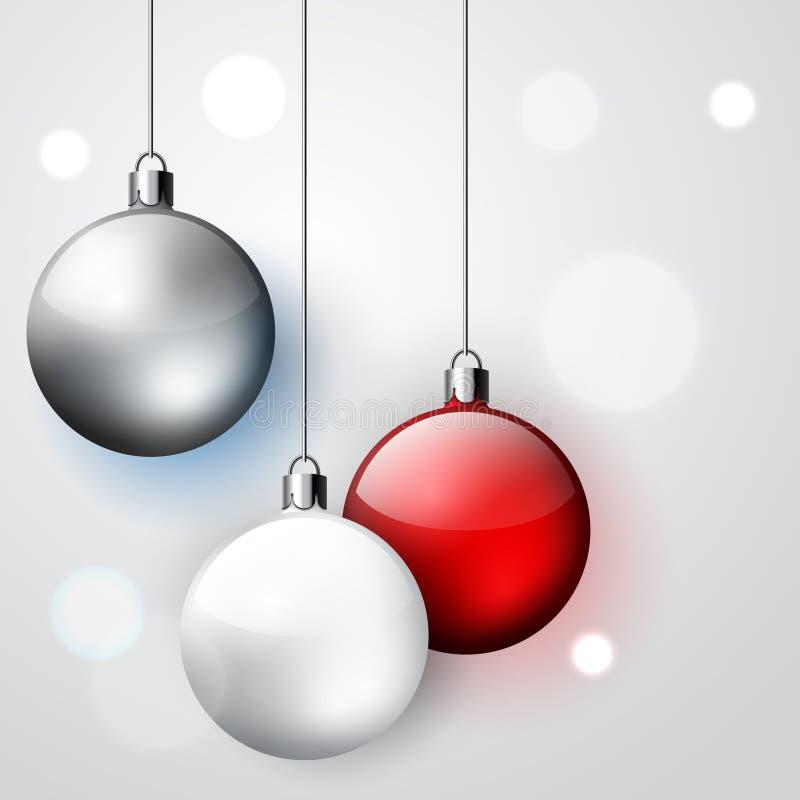Três bolas do Natal da decoração ilustração do vetor