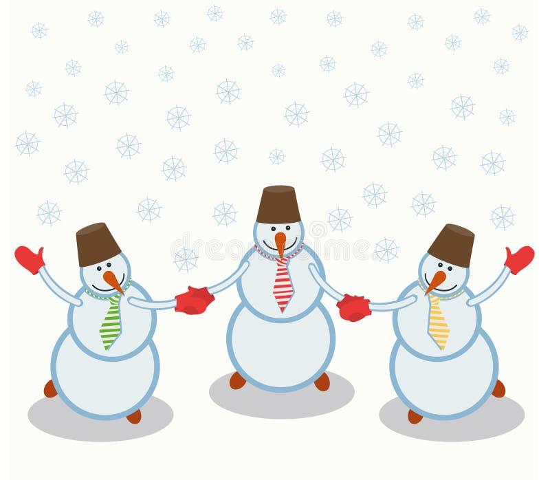 Três bonecos de neve alegres ilustração do vetor