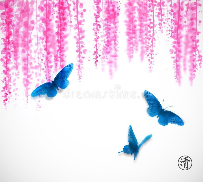 Três borboletas azuis grandes e flores cor-de-rosa da glicínia Sumi-e oriental tradicional da pintura da tinta, u-pecado, ir-hua ilustração stock
