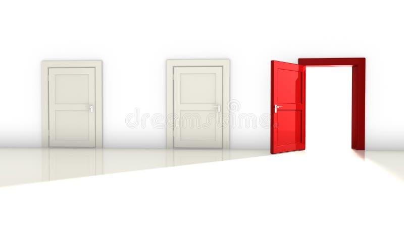 Três brancos e portas vermelhas ilustração stock