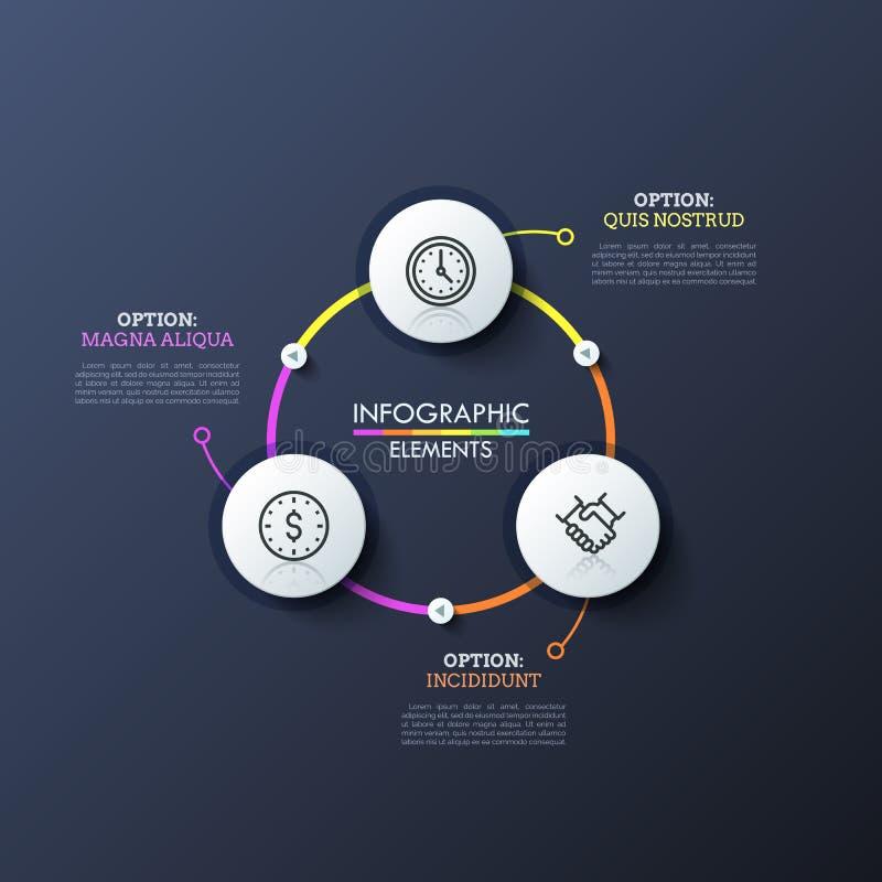 Três círculos brancos com interior linear dos ícones conectaram por linhas e por botões brilhantes do jogo Projeto infographic mo ilustração stock