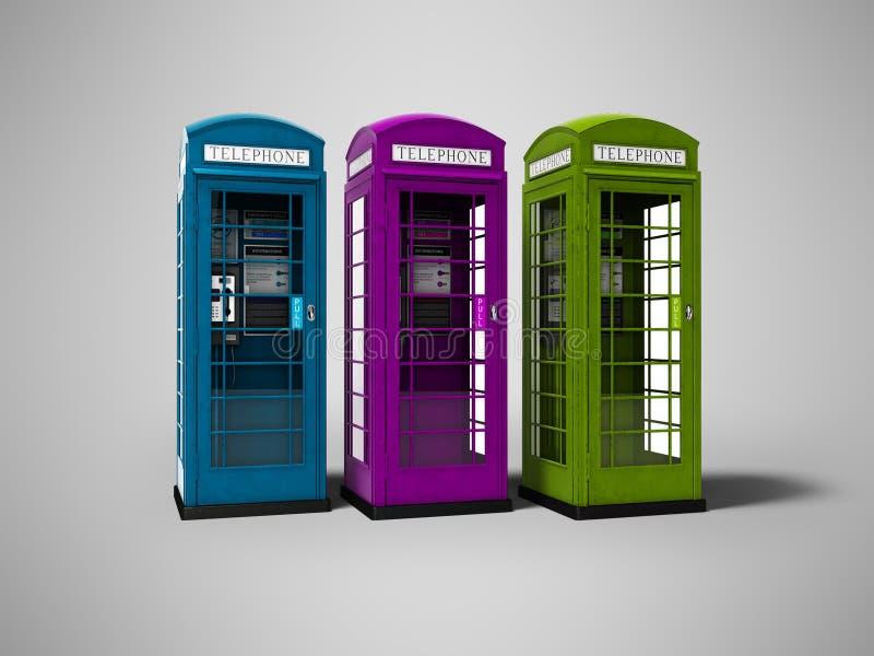 Três cabines de telefone para falar para o dinheiro 3d a render no fundo cinzento com sombra ilustração stock