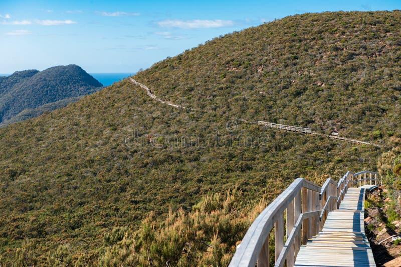 Três cabos seguem a condução à coluna do cabo, Tasmânia imagens de stock
