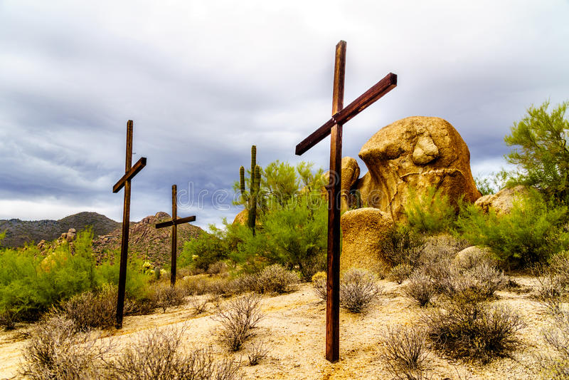 Três cactos das cruzes, os arbustos e os grandes pedregulhos no Arizona abandonam imagem de stock royalty free