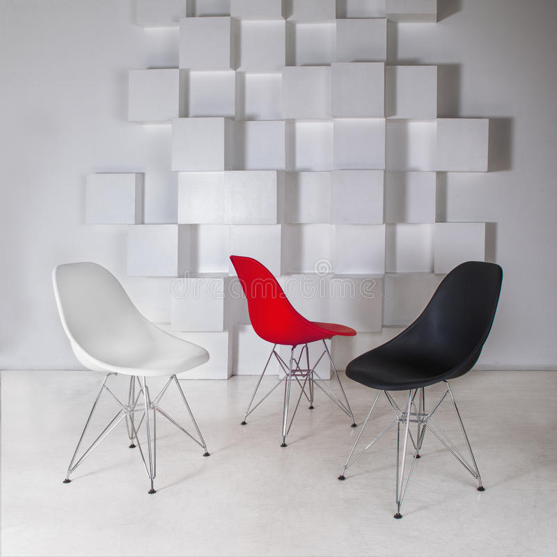 Três cadeiras confortáveis fotos de stock royalty free