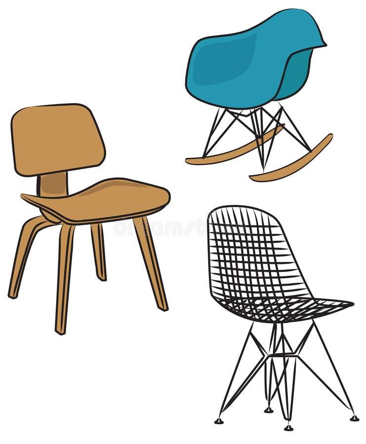Três cadeiras do projeto moderno ilustração stock