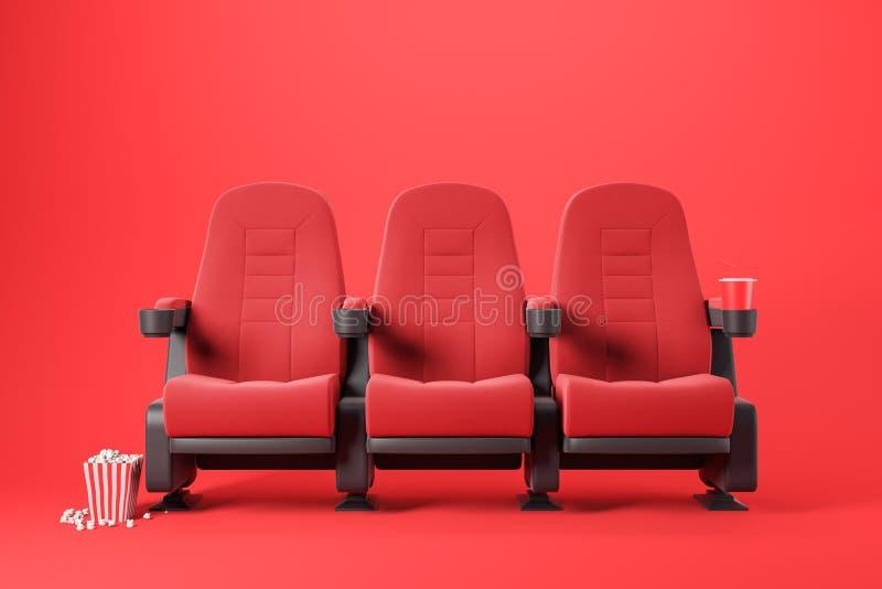 Três cadeiras vermelhas do cinema no vermelho ilustração royalty free