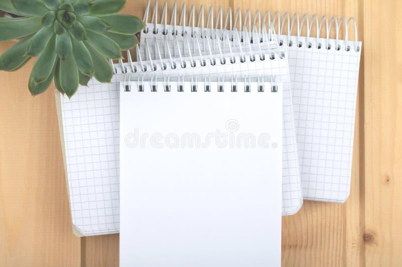 Três cadernos na superfície de madeira clara fotografia de stock