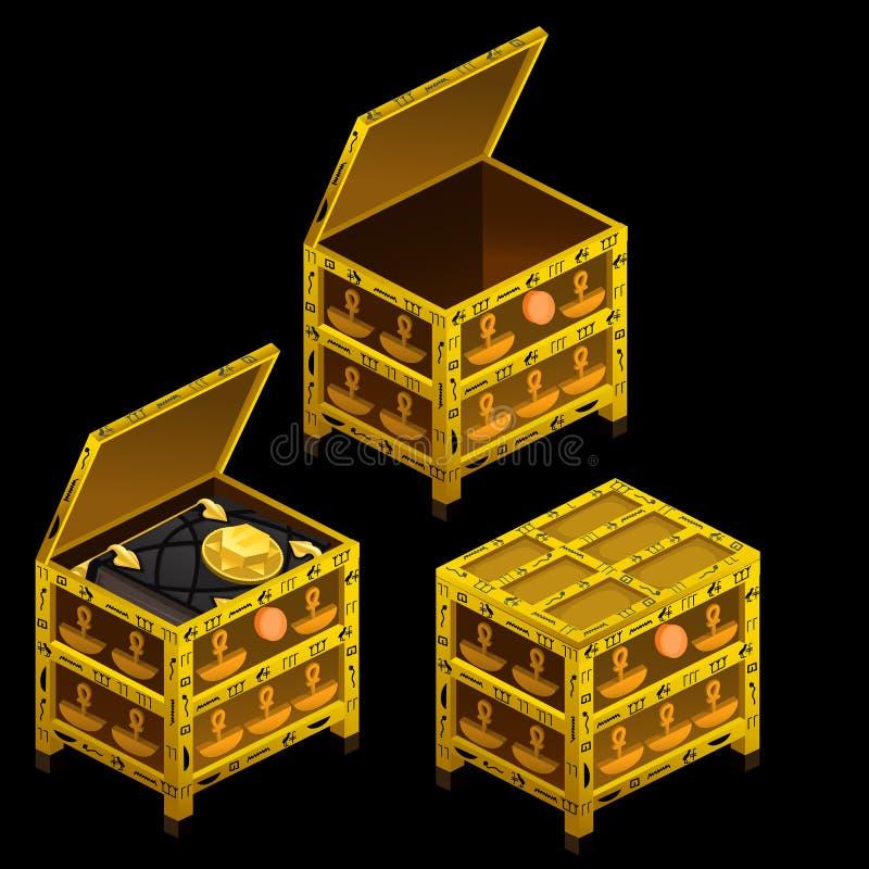 Três caixas antigas douradas e livro mágico ilustração stock