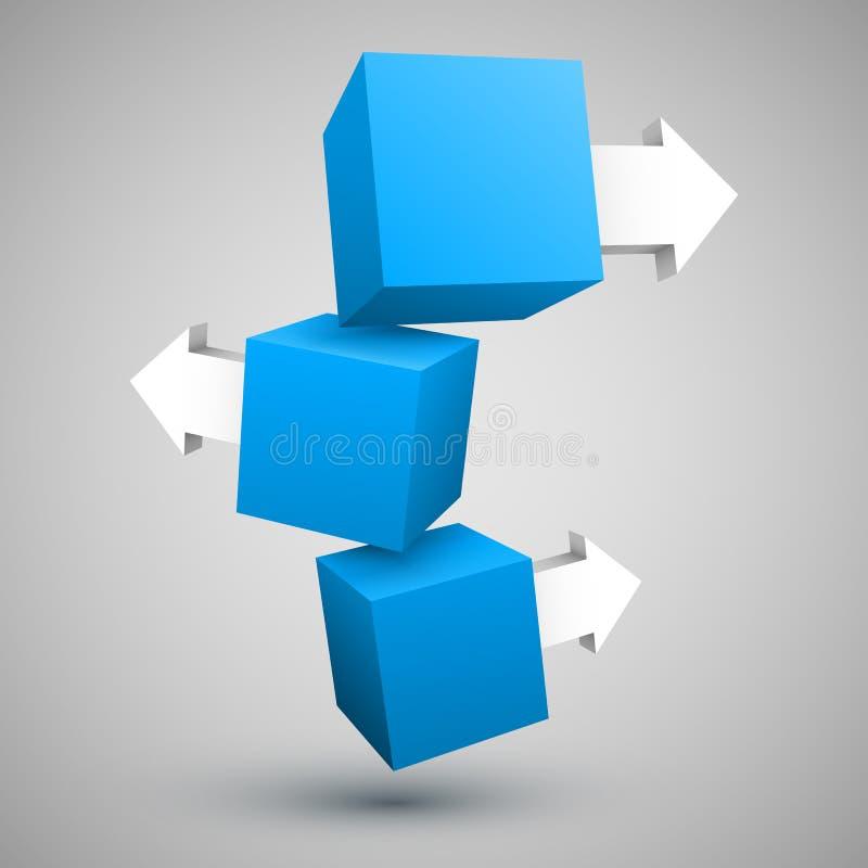 Três caixas azuis com setas 3D ilustração stock