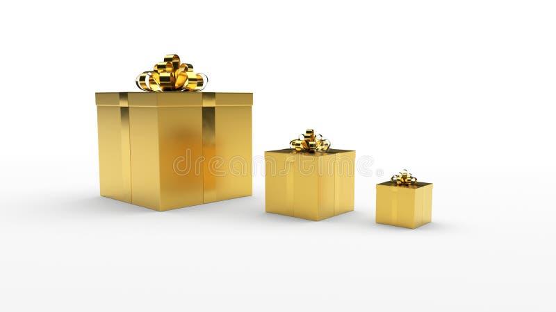 Três caixas de presente douradas com suporte dourado da curva da fita em seguido no fundo claro imagens de stock
