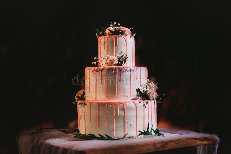 Três camadas grandes elegantes bonitas de bolo de casamento branco fotos de stock